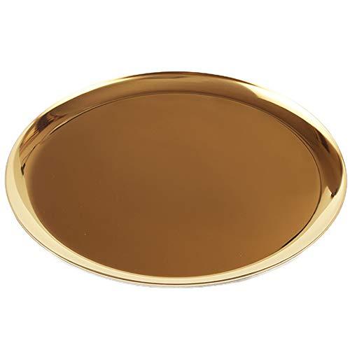 - ChezMax Stainless Steel Towel Tray Storage Tray Tea Tray Fruit Trays Cosmetics Jewelry Organizer Gold Oval Tray Decorative Plates 11 inches Round Gold