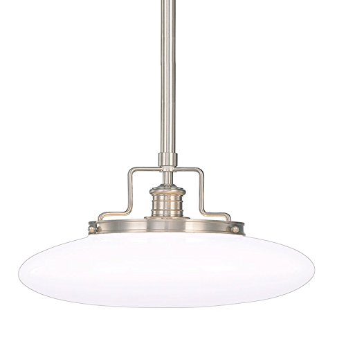 Beacon 1-Light Pendant - Satin Nickel Finish with Opal Mouth-Blown Glossy Glass Shade (Nickel Beacon Satin)