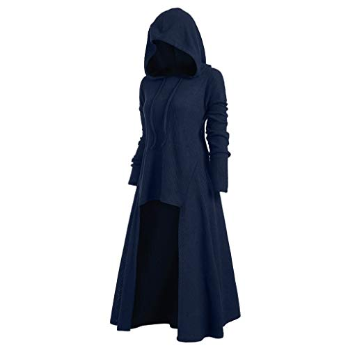 Womens Gothic Punk Asymmetric Hem Long Sleeve Loose Hoodies Dress Cloak Costumes Vintage High Low Sweatshirts Tunic Tops (Blue, 3XL)