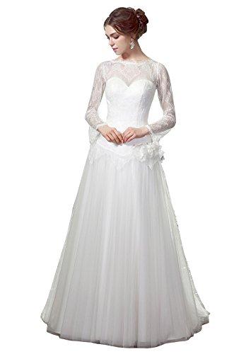 HeleneBridal® Beach A-Line Illusion Neckline Long Lace Sleeves Wedding Dress 12 White (Illusion White)
