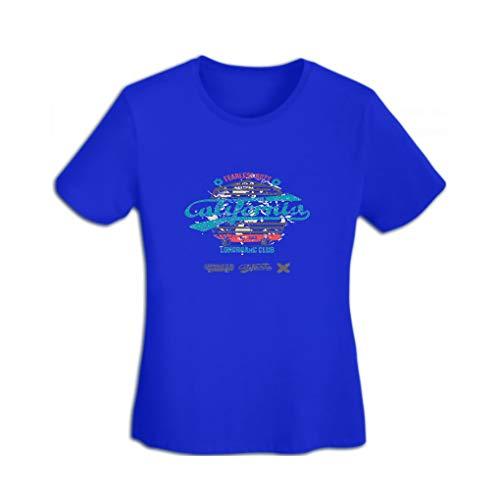 YILINGER Women's Lightweight Crewneck T-Shirt Longboard Retro Emblem Graphic Design Color Blue
