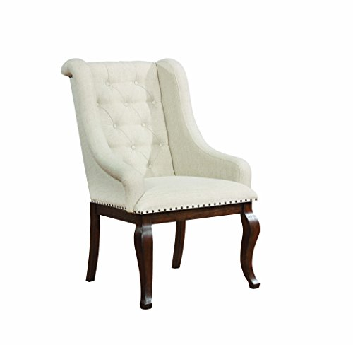 Glen Cove Arm Chairs with Button Tufting and Nailhead Trim Antique Java and Cream (Set of 2) ()