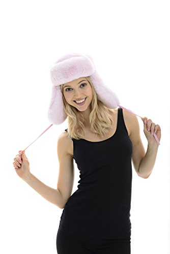 No Guilf Fur Ultra Soft Rabbit Fur Trapper Hat (BABY PINK)