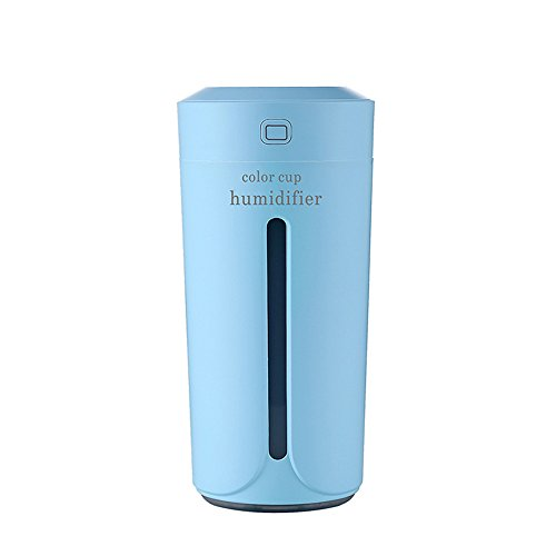 ool Mist Humidifier, USB 230ml Mini Ultrasonic Humidifiers for Office Home Car Study Yoga Spa Travel, Whisper-Quiet Operation & 7 Colors LED Night Light (Blue) ()