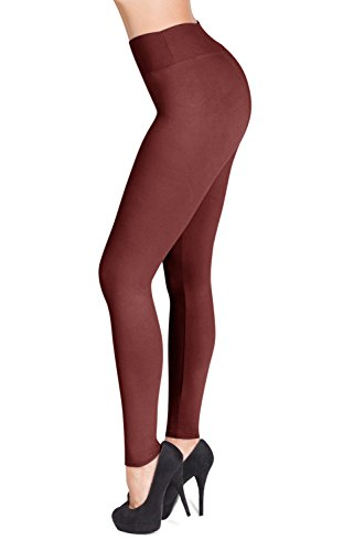 SATINA High Waisted Leggings – 22 Colors – Super Soft Full Length Opaque Slim (One Size, Wild Ginger)
