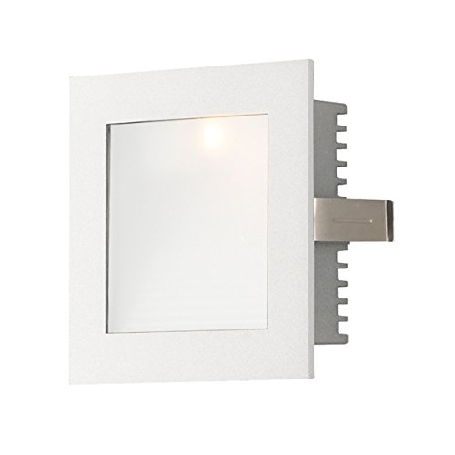 Alico Industries WLE-101W Step Light ADA Recessed Wall LED New Construction Faceplate, White Trim with Opal Lens