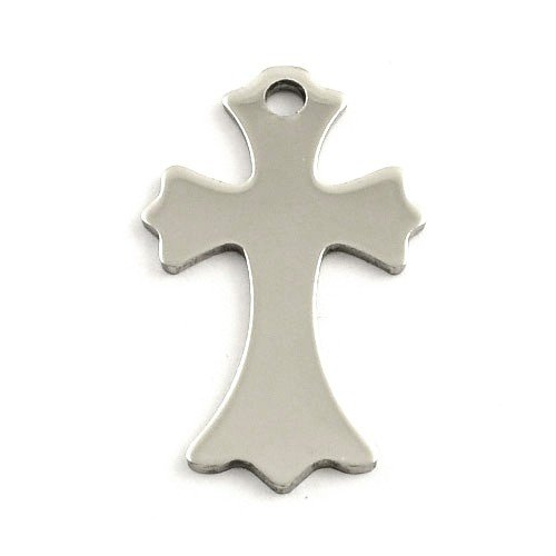 36 Mm Cross (Packet of 5 x Silver Stainless Steel 21 x 36mm Stamping Blank (Cross) - (ZX20400) - Charming)