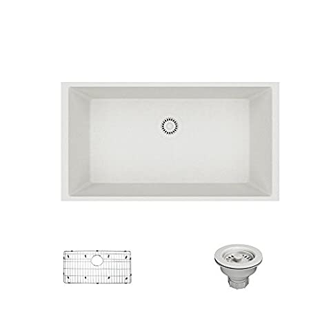 René By Elkay R3-1006-IVR-ST-CGS Ivory Single Bowl Undermount Composite Granite Kitchen Sink with Grid and Matching Colored (Brown Granite Kitchen Sinks)