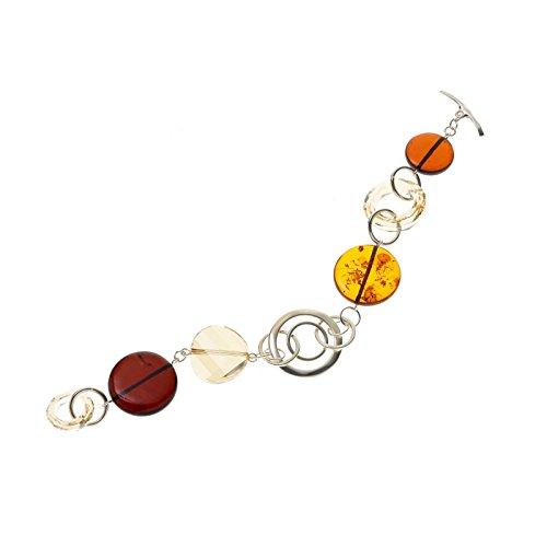 Creazioni Oro Bracelet en Argent 925 avec Baltique Ambre Rotonde Multicolore et Swarovski W1556