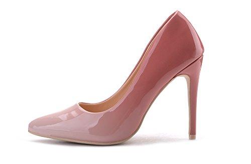 Mila Dam Bonnie08 Kvinnor Mode Förskönat Gnistrar Kontrastfärg Pekade Tå Pumpar Hög Klack Stilettos Sexig Halka På Finskor, Naken / Ca