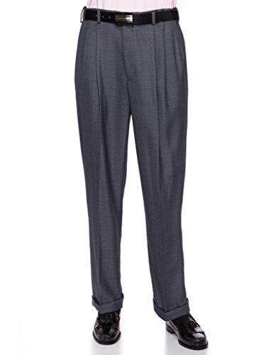 (GIOVANNI UOMO Mens Pleated Front Dress Pants with Hidden Expandable Waist Heather Blue-46)
