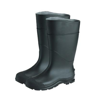 Radnor Size 6 Black 16'' PVC Economy Boots With Lugged Outsole Steel Toe