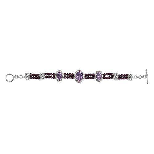 Bracelet Amethyst Rhodolite (925 Sterling Silver Platinum Plated Amethyst Rhodolite Garnet Bracelet for Women 7.25