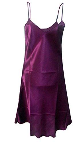 - SexyTown Women's Satin Camisole Nightgown Classic Chemise Slip Sleepwear (X-Large, Dark Purple)