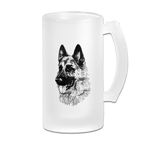German Shepherd Dog Frosted Glass Tumbler Beer Cup 16 Oz Water Glass Drinkware