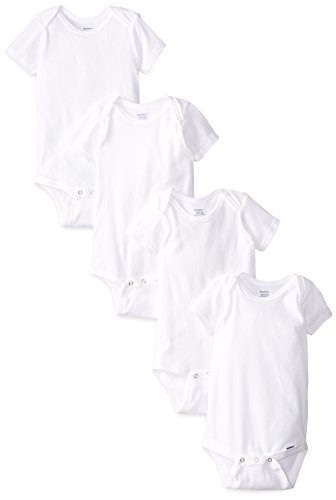 Price comparison product image Gerber Unisex-Baby Infant 4 Pack Onesies Brand, White, 24 Months