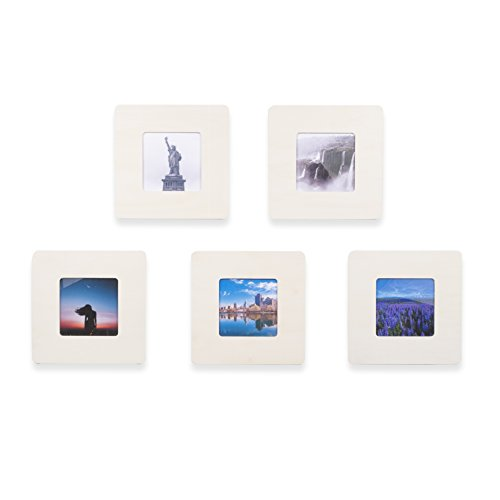 WALLNITURE Picture Frame DIY Projects Crafting Unfinished Wood Square for 5x5 Inch Photos Set of 5