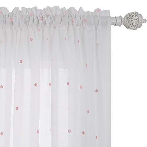 Deconovo Pink Dot Curtains Embroidered Voile Curtains Rod Pocket Sheer Curtain Panels for Children's Room Faux India White Cotton Curtains Set of Two 52W x 96L Inch