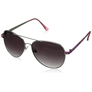XOXO Women's Forum Iridium Aviator Sunglasses,Pink,13 mm