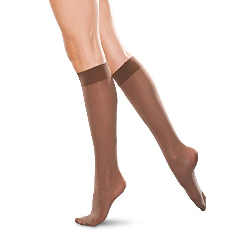Therafirm LIGHT Women's Knee High Support Stockings - 10-15mmHg Compression Nylons (Bronze, Large)