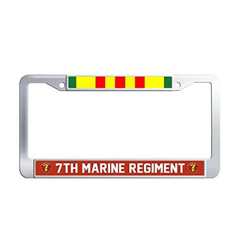 (JiuzFrames 7th Marine Regiment Vietnam Veteran License Plate Frame Holder, Unique Waterproof Metal Stainless Steel Car Plate Frame Holder with Screw Caps)