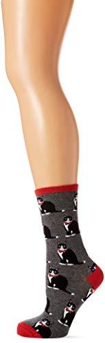 Tuxedo Cat Grey Pink Socks by Socksmith Design