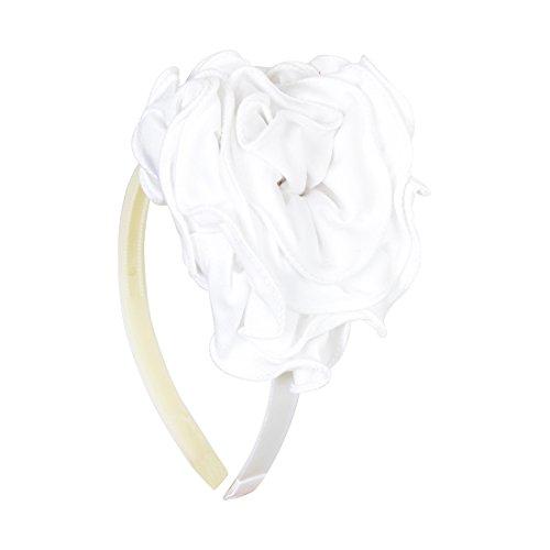 Big Fabric Rose Flower Headband Hair Accessory - White
