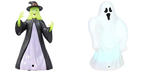Halloween Decoration Set! One Sound And Light Up Witch & One Sound And Light Up Ghost! Great For Decorating The House For Halloween! Motion Activated Decor!