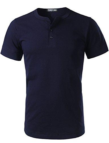 ZEROYAA Mens Hipster Heavyweight Basic Henley Slim Fit Short Sleeve V Neck T Shirts Tops Z7-Navy X-Large (Short Sleeve Navy Top Seamless)