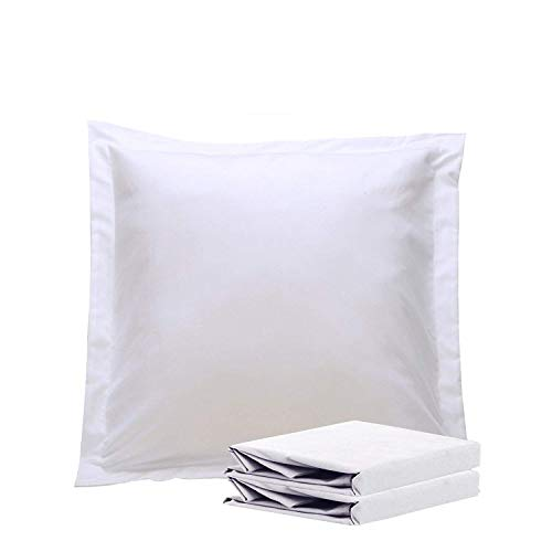 "NTBAY 100% Brushed Microfiber European Square Throw Pillow Cushion Cover Set of 2, Soft and Cozy, Wrinkle, Fade, Stain Resistant (Euro 26""x26"", White)"