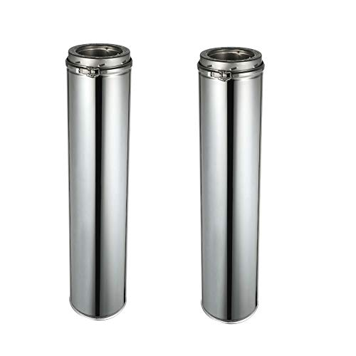 - Rainbow Chimney 6 Inch x 48 Inch Stainless Steel Double Wall Chimney Pipe (Pack of 2)