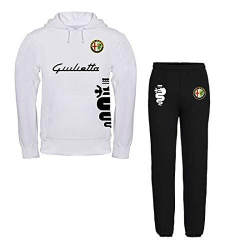 Con Alfa Rome Giulietta Personalizzata Bianca Cappuccio Felpa Felpata Pantalone Tuta 0qST5w1T