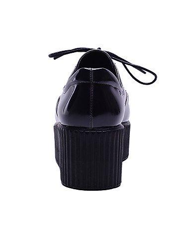 Femme Décontracté Noir Uk6 us8 Bureau Eu39 Travail Compensé Cn39 Njx Plateau Cuir Red Verni Talons A amp; Talon Rouge Hug Chaussures Habillé Compensées Egq8wA08