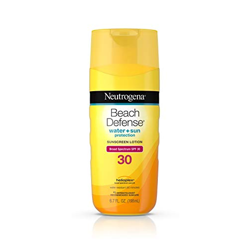 - Neutrogena Beach Defense Water Resistant Sunscreen Body Lotion with Broad Spectrum SPF 30, Oil-Free and Fast-Absorbing, 6.7 oz