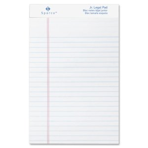 Sparco Pad,Micro-Perforated,Jr. Legal Ruled, 50 Sheets, 5 x 8 Inches, 12/DZ, White -