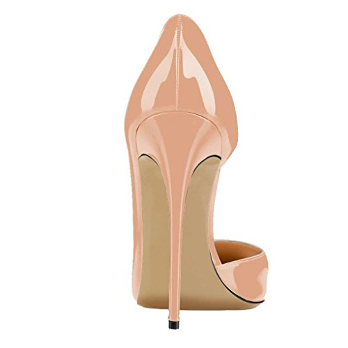 Calaier Women Cabecause Pointed-Toe 12CM Stiletto Slip-on Court Shoes Beige qQFjl7zUYO