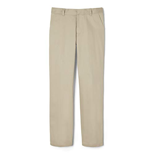 French Toast Little Boys' Flat Front Double Knee Pant with Adjustable Waist, Khaki, 6 ()