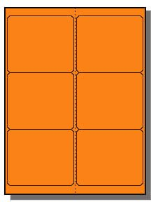 (600 Label Outfitters 4 x 3-1/3 inches Bright Fluorescent Orange Laser Labels)