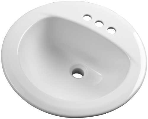 Gerber Plumbing 12-884-CH Gerber Maxwell, 19 In. Round, 4 In. Center To Center Drop-In Lavatory Sink, White - 285388