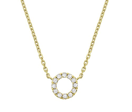 ZE 10k Yellow Gold Diamond Accent Circle Necklace