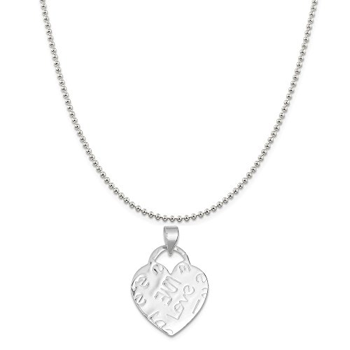 Sterling Silver Embossed Love Heart Pendant on a Sterling Silver Ball Chain Necklace 16