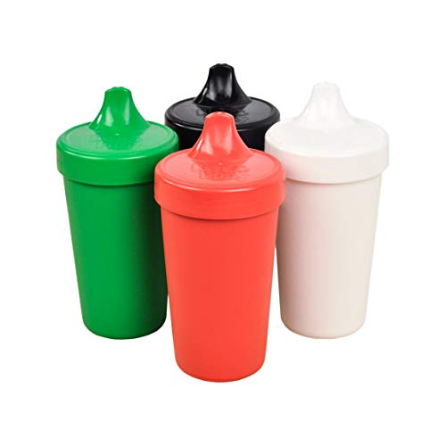 (Re-Play Made in The USA 4pk No Spill Sippy Cups for Baby, Toddler, and Child Feeding - Red, Kelly Green, White, Black)