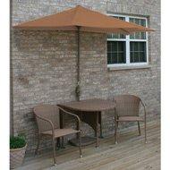 Terrace Mates Adena All-Weather Wicker in Coffee 9 Ft. Teak Sunbrella Set (Teak / Rich Coffee) (See Description)