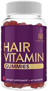 Hair Gummy Vitamins – Hair Gummies with Biotin 5000mcg, Vitamins D, B12 for Women & Men – Promotes Healthy, Shiny, Thick and Strong Hair – Vegan Friendly, Gluten Free, Natural Hair Growth (Strawberry)