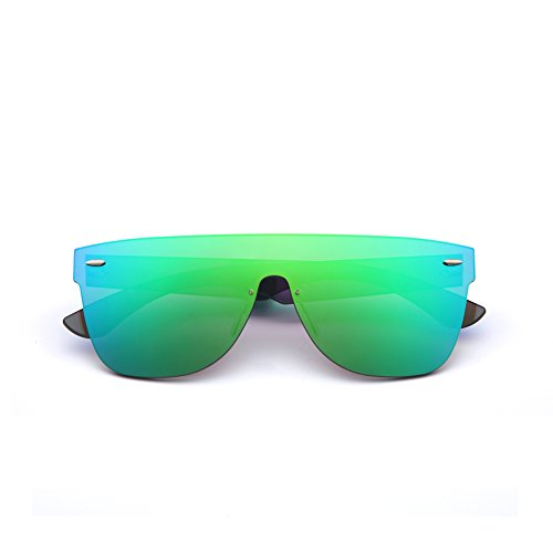 2020Ventiventi Oversized Mens Sunglasses Square Lens Green Mirrored Revo Glasses 62mm Blendes Eyewear for Sandy Beach PC1606C03 ()