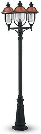 Poste de jardín 3 luces farola Farol E27 cobre Serie Venecia: Amazon.es: Iluminación