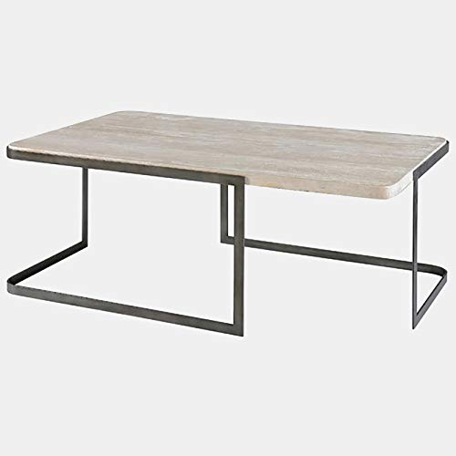 Metal Coffee Table with Travertine Top - Coffee Table with Sculptural Base - Pewter ()