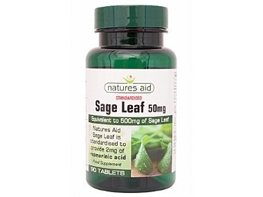 Sage Leaf equivalent 500mg 90 tablets - May help Menopause sweats & hot flushes by Natures Aid