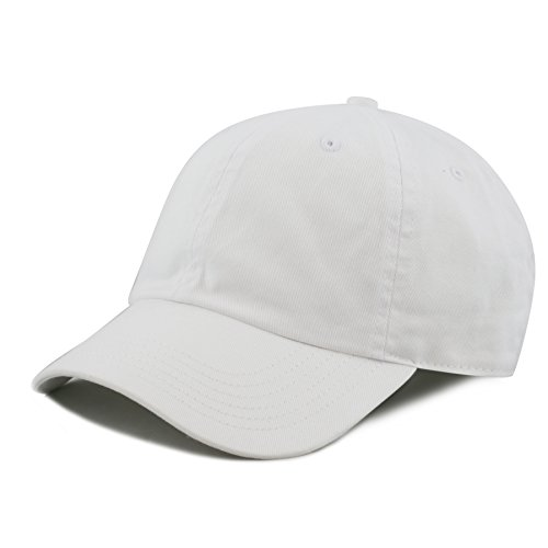 7 Caps (THE HAT DEPOT Kids Washed Low Profile Cotton and Denim Plain Baseball Cap Hat (6-9yrs, White))