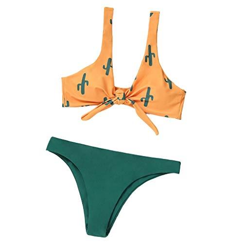 (Sunmoot 2019 Summer Women Sexy Halter Two Piece Bikini Printed Swimsuits Bandage Swimwear Low Waist Bathing Beachwear Yellow)